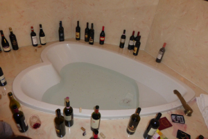 Best Use of a Hot Tub  Ringed by Red Wines at the after party